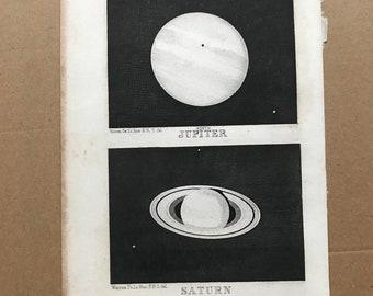 1899 Jupiter and Saturn Original Antique Print - Astronomy - Planet