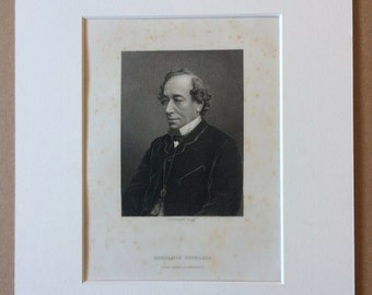 1890 Benjamin Disraeli Original Antique Engraving - Mounted and Matted - Available Framed - Portrait - Portraiture - History - Politics
