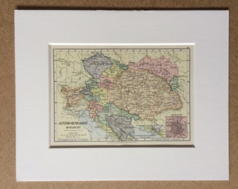 1895 Austro-Hungarian Monarchy Original Antique World Map - Mounted and Matted - 8 x 10 inches - Framed Map - Gift Idea - Framed Vintage Art