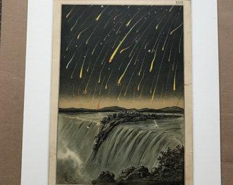 1882 Original Antique Lithograph - Shooting Stars seen in North America in 1833 - Zodiac - Celestial - Astronomy - Victorian Wall Decor