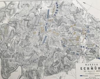 1875 Battle of Echmuhl Original Antique Map - Eckmuhl - Bavaria - Napoleonic Wars - Battle Map - Military History - Available Framed
