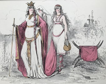 1867 Original Antique Hand-Coloured Wood Engraving - Alfred Grevin - Women in Historical Costume - Whimsical Art - Period Fashion