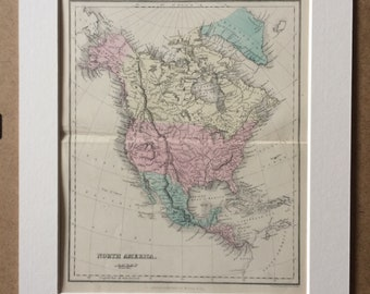 1858 North America Original Antique Map - Available Mounted and Matted - 12 x 16 Inches - Gift Idea - Vintage Map - Wall Decor