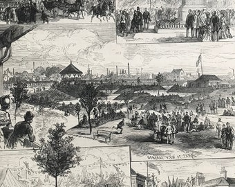 1883 The Duke and Duchess of Connaught opening the People's Park at Great Grimsby Original Antique Engraving - Victorian Decor