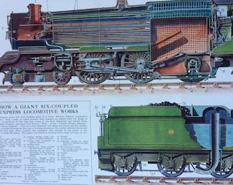 1940s How a giant six-coupled express locomotive works Large Original Vintage Print - Retro Diagram - Railway Train - Great Western Railway