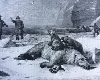 1882 Hunting by the Twilight of Noon Original Antique Engraving - matted & ready to frame - Polar Bear - Arctic - Hunting Decor