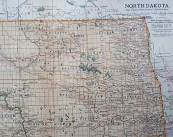 1903 NORTH DAKOTA Original Large Antique Map - Wall Map - Home Decor - Cartography - 11 x 16 Inches - Detailed Map - Geography