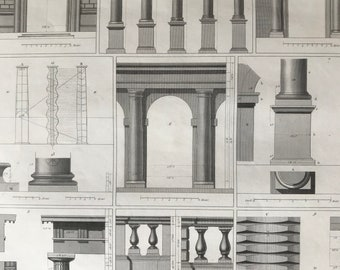 1849 Greco-Roman Column Architecture Original Antique Engraving - Mounted and Matted - Available Framed - Ancient Rome - Victorian Decor
