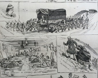 1877 Incidents of the Volunteer Review at Dunstable antique print from engraving, Illustrated London News, 19th Century History