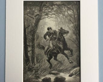 1891 The Indian Rising: A Critical Moment by Kate Sowerby Original Antique Engraving - Victorian Decor - Sioux - Available Framed