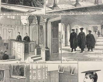 1883 Prince Albert Victor of Wales at Cambridge University Original Antique Engraving - Victorian Decor - Trinity College - Royalty