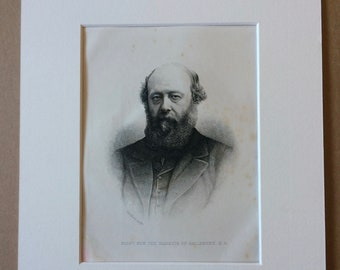 1890 Marquis of Salisbury Original Antique Engraving - Mounted and Matted - Available Framed - Portrait - Portraiture - History
