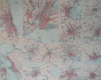 1922 AMERICAN CITIES Large Original Antique Times Atlas Map - Chicago - NYC - San Francisco - Washington - New Orleans - Baltimore - Toronto