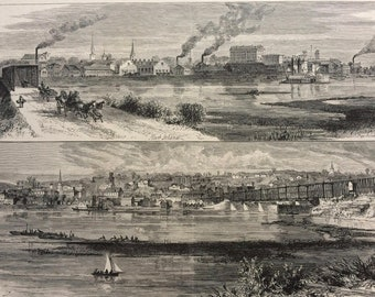 1874 Rock Island Illinois and Davenport, Iowa Original Antique Wood Engraving - Mounted and Matted - Landscape - United States