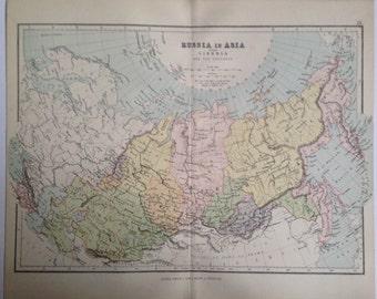 1887 RUSSIA IN ASIA map, antique, original, colour, historical, vintage, asia, central asia, siberia, caucasus