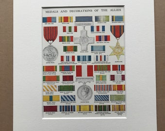 1940s Medals and Decorations of the Allies Original Vintage Print - Mounted and Matted - World War II - Military Decor -  Framed Vintage Art