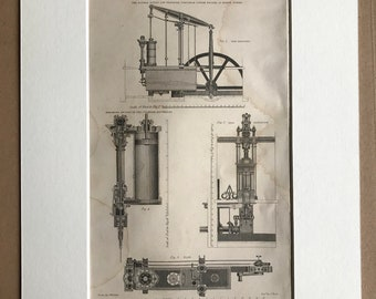 1858 Steam Engine - Double Acting Low Pressure Portable Steam Engine Original Antique Engraving - Victorian Technology - Available Framed