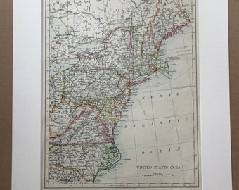 1906 United States (North-East Central) Original Antique Map - Mounted and Matted - Available Framed - Virginia, Pennsylvania, New England
