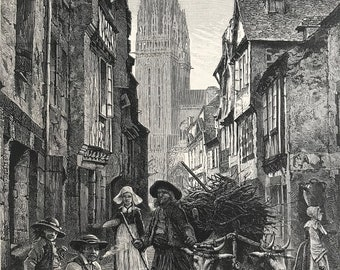 1876 Quimper Original Antique Wood Engraving - Mounted and Matted - Brittany - Street Scene - France - Available Framed