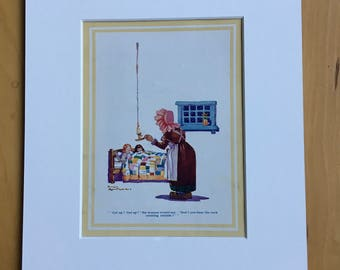 1935 Original Vintage Children's Book Illustration - Aesop's Fables - The widow and her little maidens - Nursery Decor - Mounted and Matted