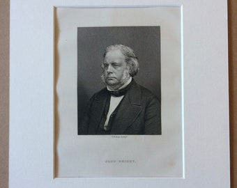 1890 John Bright Original Antique Engraving - Mounted and Matted - Available Framed - Portrait - Portraiture - History