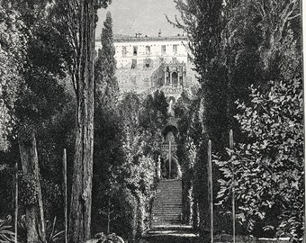 1876 Gardens of the Villa D'Este Tivoli Original Antique Wood Engraving - Mounted and Matted - Landscape Art - Italy - Available Framed