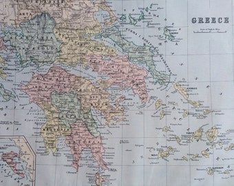 1890 GREECE Original Antique Map, 11 x 14 inches, Johnston Atlas, Home Decor, Cartography, Geography