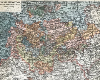1897 Saxon Duchies Original Antique Map - Available Mounted and Matted - Germany - Ernestine Duchies - Vintage Map - Thuringen