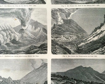 1890 Volcano Large Original Antique Lithograph - Available Mounted and Matted - Volcanoes - Volcanology - Vintage Wall Decor