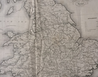 1845 England and Wales Extra Large Original Antique Engraved Map showing roads, railways, canals and rivers - Decorative Art