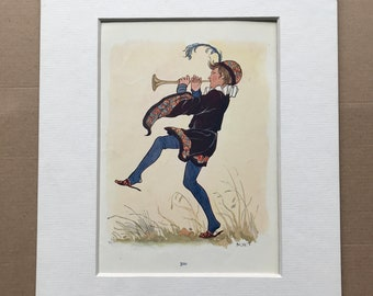 1917 Tom, Tom, The Piper's Son Original Vintage Margaret W. Tarrant Illustration - Matted and Available Framed - Nursery Rhyme