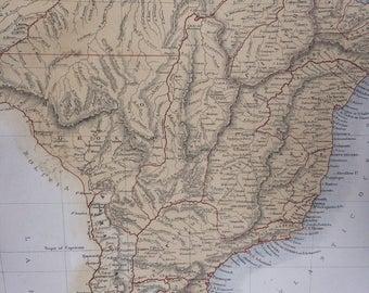 1859 BRAZIL, Uruguay, Paraguay and Guayana large rare original antique A & C Black Map - South America - Wall Decor - Home Decor - Gift Idea