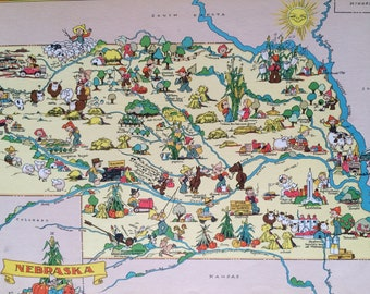 1935 Nebraska Original Vintage Cartoon Map - Ruth Taylor - Available Mounted and Matted - Whimsical Map - United States