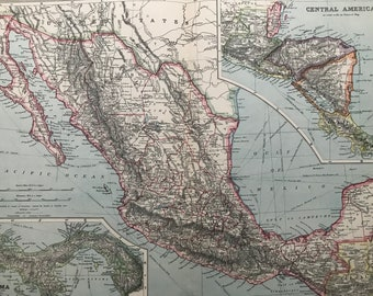 1903 Mexico & Central America, with British Honduras Original Antique Map with inset map of Panama Showing Railways and Submarine Cables