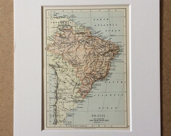 1895 Brazil Original Antique World Map - Mounted and Matted - 8 x 10 inches - Framed Map - Framed Vintage Art