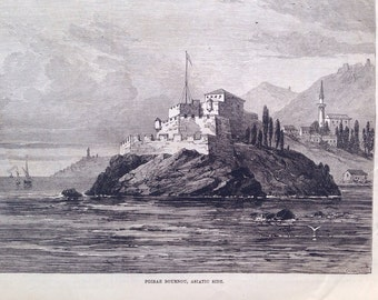 1877 The Fortifications of the Bosphorus Original Antique Engraving Fortress of Mahdjar, Poiraz Bournou, Asiatic Side, Military Print