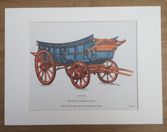1978 Suffolk Farm Waggon Large Original Vintage Print - Mounted and Matted - Agriculture - Gift for Farmer - Vintage Wall Decor