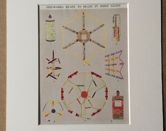 1940s Fireworks ready to blaze in brief glory Original Vintage Print - Mounted and Matted - Available Framed