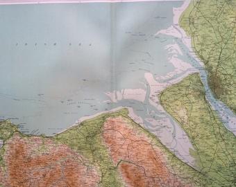 1903 LIVERPOOL & DENBIGH Large Original Antique Map, 17.5 x 23 inches, historical wall decor, Bartholomew map, Home Decor, Cartography