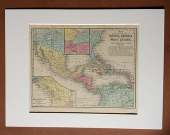 1855 Central America, Mexico & West Indies Original Antique hand coloured Map - Available Mounted and Matted