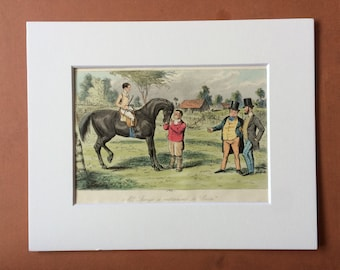 1853 Original Antique Hand Coloured Engraving - 'Mr Sponges Sporting Tour' Illustration - Mounted and Matted - Available Framed