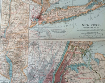 1903 New York State (Southern) and New York City Original Antique Map with inset maps of the Hudson River & The Catskill Mountains