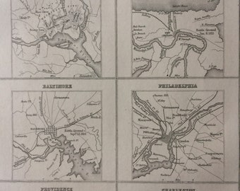 1871 Principal Cities in the United States Original Antique Map - USA - New York, Boston, Washington, New Orleans, Baltimore, Philadelphia