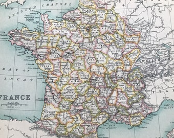 1912 France Original Antique Map - Mounted and Matted - Available Framed