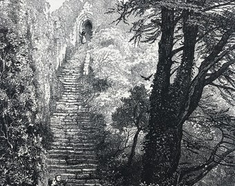 1876 Staircase to Carisbrook Keep Original Antique Engraving - Mounted and Matted - Carisbrooke Castle Isle of Wight - Available Framed