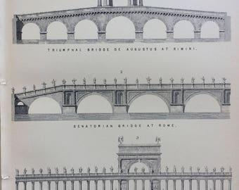 1891 Bridge Original Antique Encyclopaedia Illustration - wall decor - home decor - Architecture - Engineering - Senatorial - Triumphal