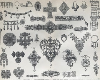 1898 Jewellery Original Antique Print - Available Mounted and Matted - Gift for Jeweller - Necklace - Broach - Earring - Bracelet