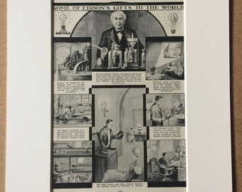 1940s Some of Edison's Gifts to the World Original Vintage Print - Mounted and Matted - Electricity - Scientist - Available Framed