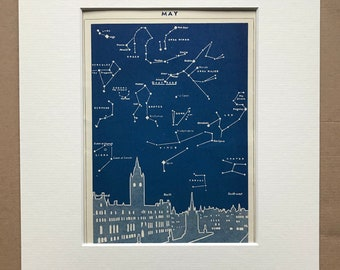 1940s May Star Map seen over Manchester Original Vintage Print - Mounted and Matted - Astronomy - Celestial Art - Available Framed