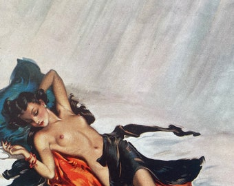 1946 'Brown Sugar' Original Vintage David Wright Folio Print - Pin-Up Girl - Glamour - Mounted and Matted - Available Framed